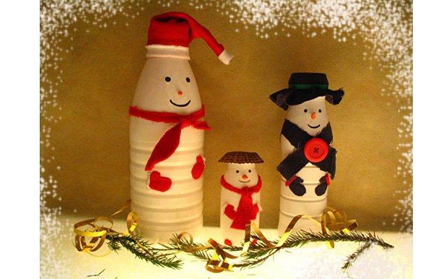 Снеговик из пластиковой бутылки своими руками пошаговая