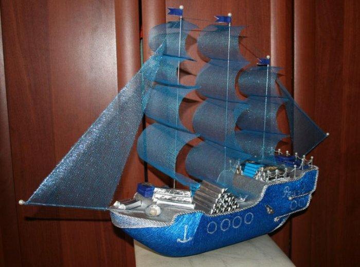Корабли из конфет как сделать паруса для