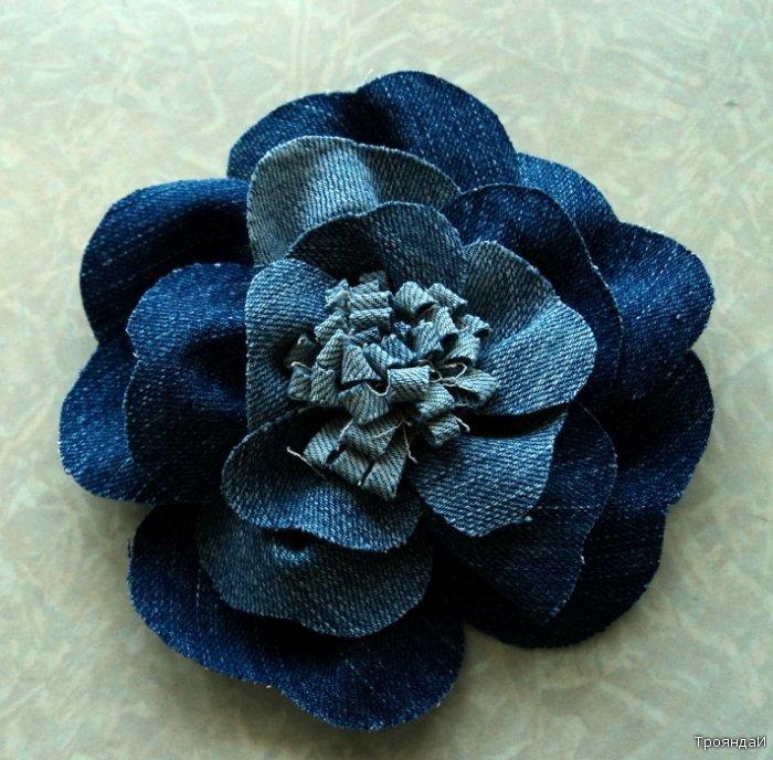 Розы из джинсовой ткани своими руками 21
