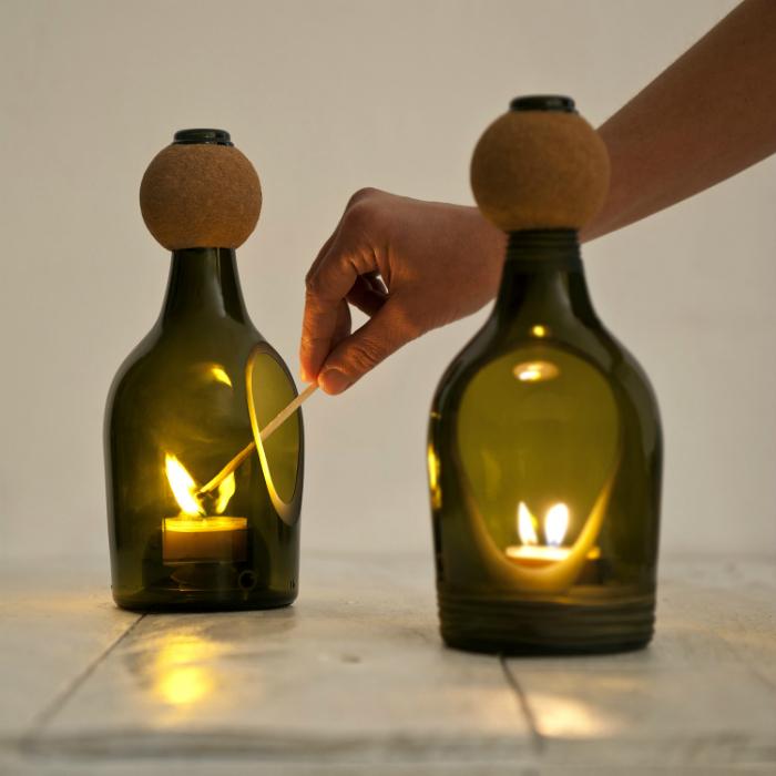 Подсвечник из бутылки своими руками мастер