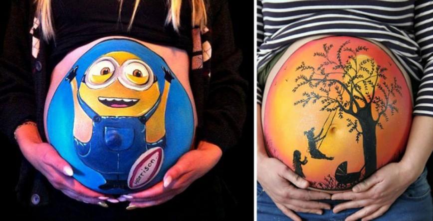 Чем рисуют на животе у беременных 17