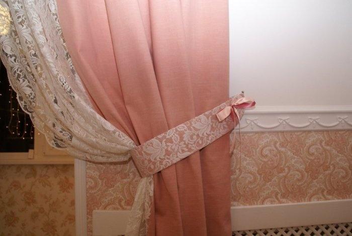 Как сшить шторы на кухню с кружевами
