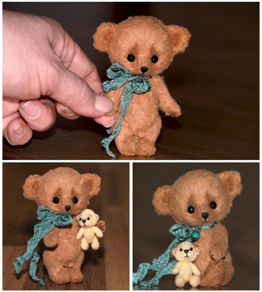 Медвежонок Дмитрий (9 см) со своим мишкой (3,7 см).  Тут больше фото http://book-of-wishes.blogspot.ru/2015/09/handmade-tiny-bear-dmitriy.html