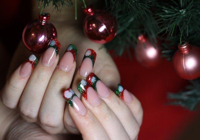 Наращивание ногтей дизайн на новый год