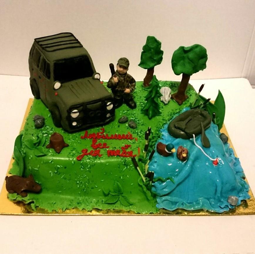 торт охотнику и рыбаку