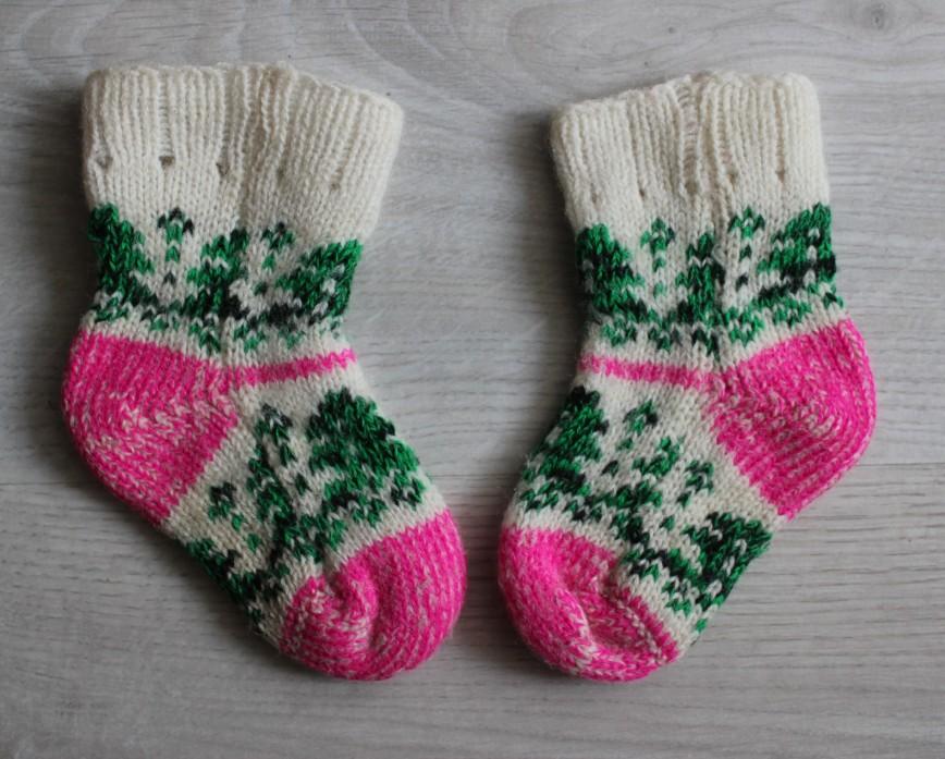 Шерстяные носочки бело-розовые, на 1-1,5г, 100% шерсть, б/у мало, в идеале. 100р