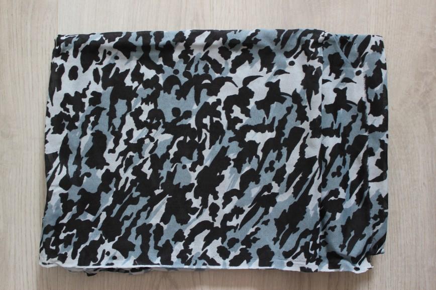 Ткань искусственный шелк, черно-серые пятнышки неправильной формы, называется «Примула», не мнется. Винтаж. Размер 155*300см. 450р