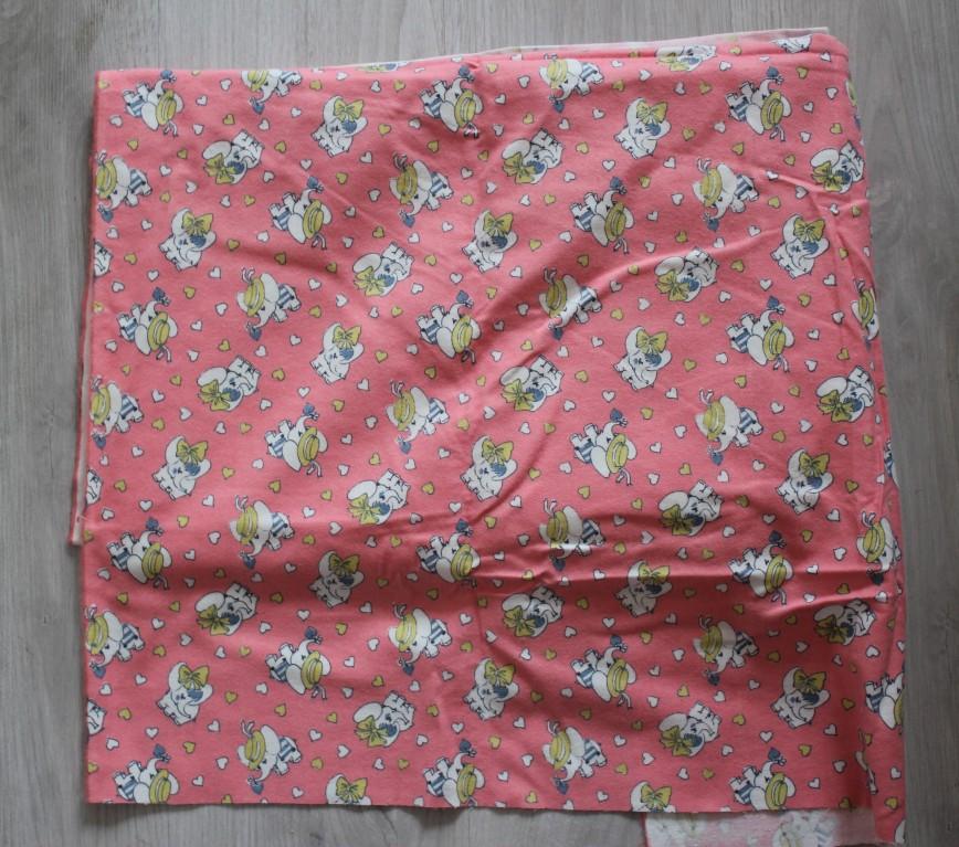 Ткань фланель розовая со слониками. Винтаж. Размер 75*350см. 700р