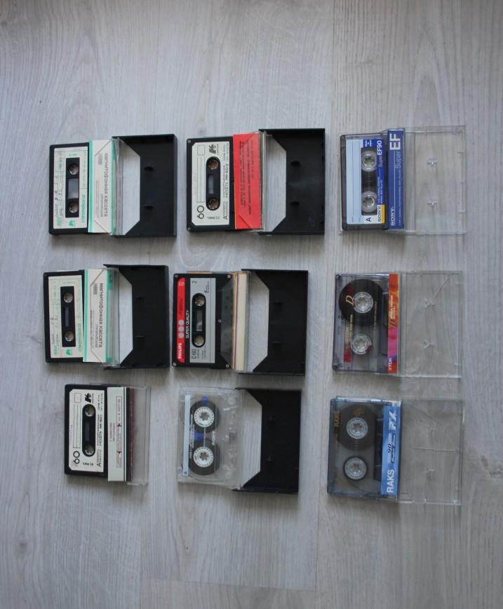 Аудиокассеты (кассеты) времен СССР 9шт, 1 или 2 новых, остальные б/у. Есть из 80х гг МК-60-1 и 60-2 (Ассофото), МК 60-7 Chromdioxid Хромдиоксид, Philips 60мин Hi-Ferro и более новые Sony 120мин, Raks, TDK. 1300р