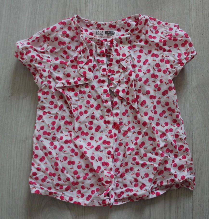 Блуза белая с вишенками Zara Baby, на 18-24мес (86см), на пуговках, в идеале. 150р