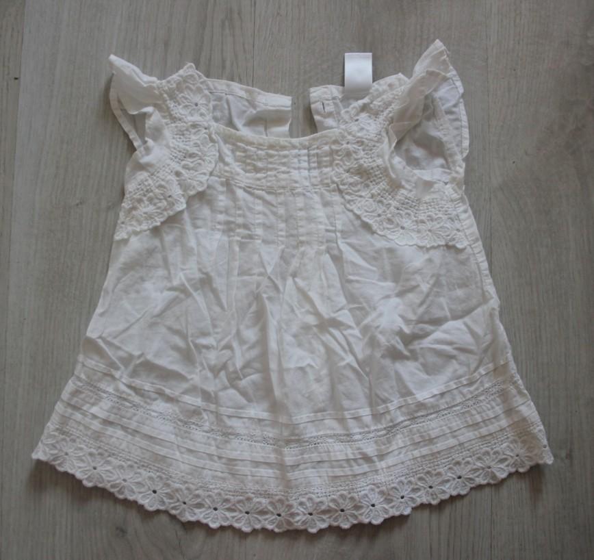 Блуза белая с кружевом Zara Baby, на 18-24мес (86см), на пуговках сзади, в отл.сост. 100р