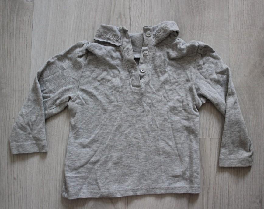 Блуза Mothercare с воротничком, на 9-12 мес (80см), серая, в идеале. 150р