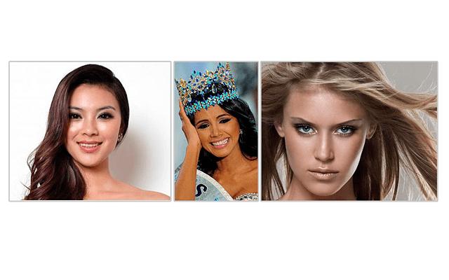 """7 странных стандартов красоты: На фото - победительницы конкурса """"Мисс Мира"""": слева направо 2012 (китаянка), 2011 (венесуэлка) и 2010 год (американка)."""
