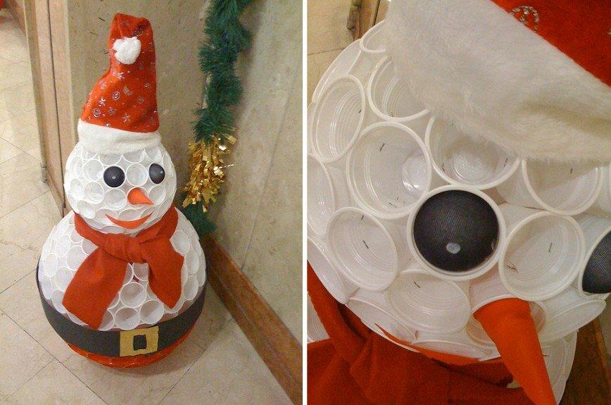 Снеговик своими руками из пластиковых стаканчиков инструкция