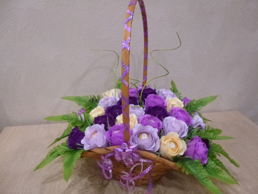 Корзинка конфеты цветы своими руками