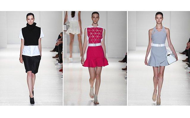 Платья-микс и квадратные жилеты Victoria Beckham, весна 2014