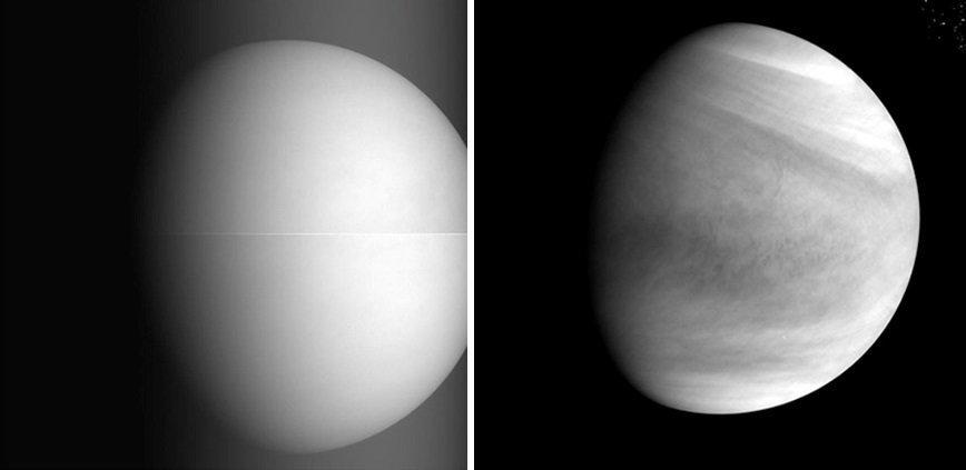 Вся красота недоступной Венеры: Второй снимок сделал японский космический зонд «Акацуки». Как раз в это время он вышел на орбиту прекрасной Венеры и сделал