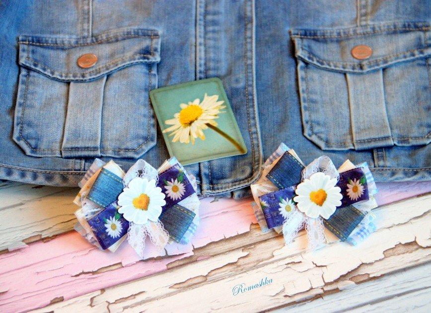 """Автор: Marina_79, Фотозал: Мое хобби, Бантики """"Джинсовые ромашки"""" ждут хозяйку"""