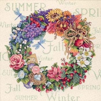 Dimensions 35040 [br]  Wreath of all Seasons[br] Буду вышивть подбором, по схеме.  Вышивка в работе.
