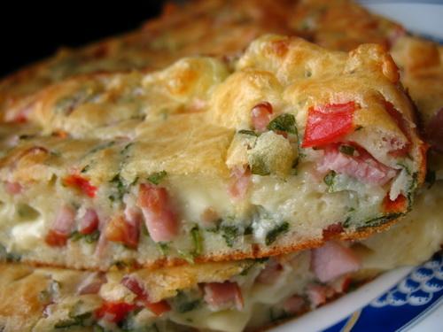 пирог ветчиной сыром фото рецепт