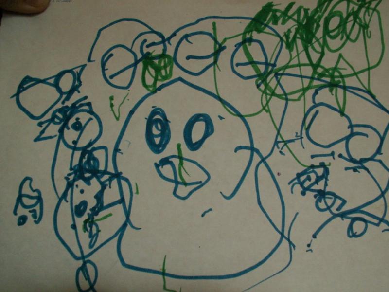 """Было нарисовано в поезде.Вокруг """"курицы"""" вагончики. Я думаю навеяно видами из окна на проходящие поезда."""