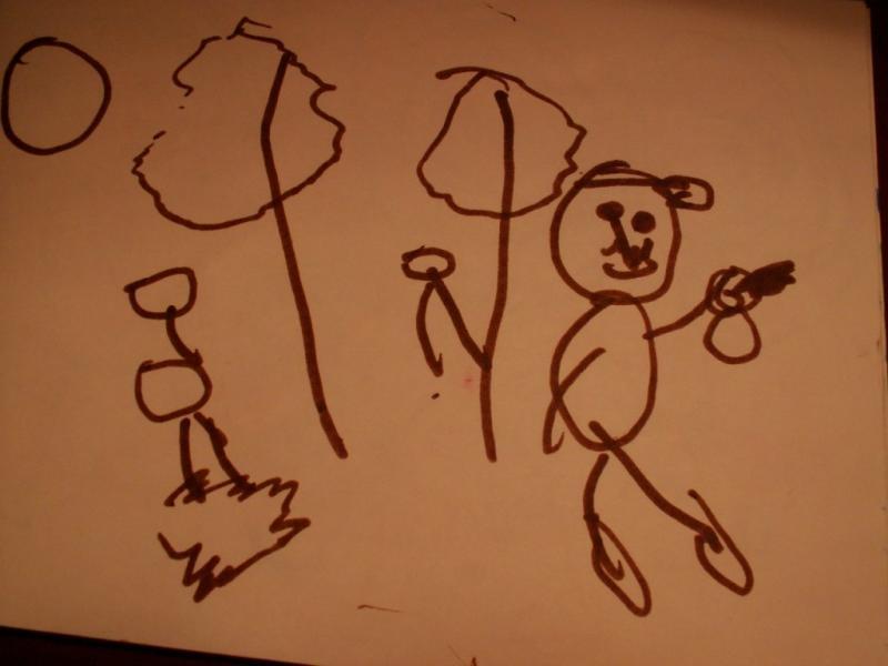 Папа в грибном лесу(поменьше-это грибы),в руке тоже гриб. А папа в кепке,даже козырек нарисован!!