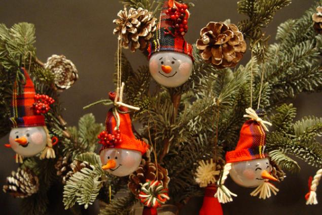 Елочные игрушки из лампочек: Берем обычные лампочки....    и 15и сантиметровый отрез ткани шотландки. Из ткани вырезаем треугольники для колпачков: