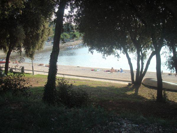 """[b]ТЕНЬ НА ПЛЯЖЕ.[/b] На """"ближнем"""" пляже можно расположиться в тени деревьев на газоне. Травы там, правда, к разгару лета уже нет - выгорает, но тени достаточно:)"""
