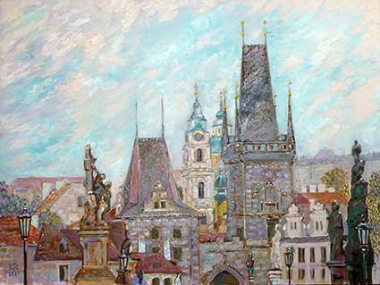 Прага. Вид с Карлова моста. Холст, масло. 80Х60. ПРОДАНА