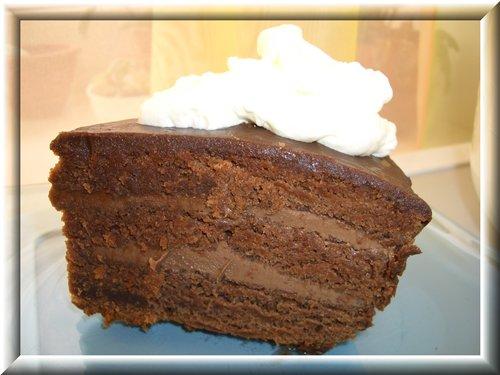 [b]ПРАГА[/b]..................  ТЕСТО: 3 яйца, 1 стакан сахара, 200 г сметаны, сода, погашенная уксусом, щепотка соли, 0,5 банки сгущенного молока с какао или кофе (я делала с какао), 1,5 стакана муки, примерно половина стандартной плитки горького шоколада, 2 ч.л.какао. Яйца растереть с сахаром, добавить сметану, погашенную соду, половину банки сгущенки,в которой размешано 2 ч.л. какао и добавлен растопленный на водяной бане шоколад. Все хорошо вымешать и добавить муку. Тесто в форму и выпекать 50-60 минут, я выпекала в мультиварке 60 минут на Выпечке. Вынуть готовый корж, остудить и разрезать на три части ниткой или ножом. Горячие коржи слегка смочить коньяком, я кисточкой как бы смазывала. Как остынет, между коржами выложить крем и залить шоколадной помадкой  КРЕМ: 200 гр. размягченного сливочного масла (можно шоколадного, тогда без добавления какао), 0,5 б.сгущенки с какао или кофе, 2 ст.л. какао. Взбить размягченное масло, постепенно добавляя оставшееся сгущенное молоко с какао.Промазывать надо абсолютно холодные коржи, иначе масло сразу течет.  ПОМАДКА: 3 ст.л. сметаны, 3 ст.л. какао, 4 ст.л.сахара, 0,5 шоколадки оставшейся от теста, 30-50г сливочного масла. Перемешать сметану, какао, сахар. Довести до кипения, добавить 0,5 плитки горького шоколада и кипятить до густоты. Добавить кусочек (примерно 30-50 гр.) сливочного масла и снова прокипятить. Поливать торт горячей помадкой. Украсить по желанию. Сразу поставить в морозилку на 20 минут, что бы крем схватился.