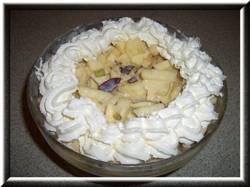 [b]Фруктовый салат[/b] Порезать любые фрукты-ягоды. Я брала: банан, яблоко, грушу, киви, мандарин. Заправить сгущёным молоком и взбитыми сливками. Украсить взбитыми сливками.