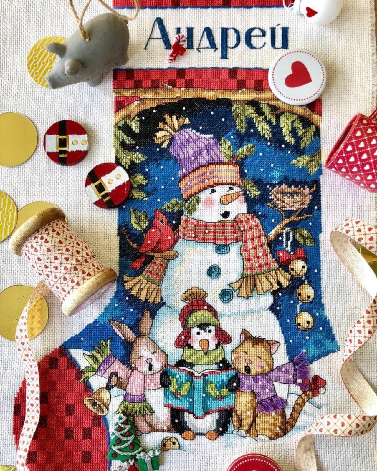Автор: ОляЧе, Фотозал: Мое хобби, Рождественский носок для сына. Самый мой долгостройный долгострой.