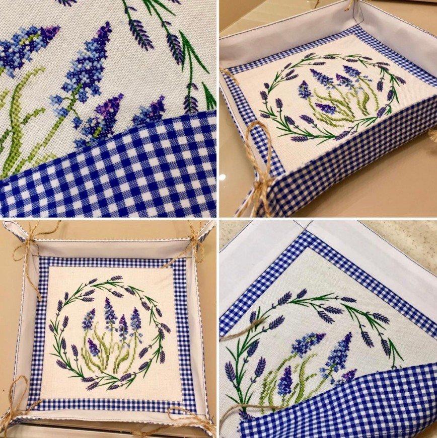 Автор: ОляЧе, Фотозал: Мое хобби, Текстильная корзинка для мелочей. Вышивка выполнена на льне с напечатанным рисунком, круг из лаванды напечатан.