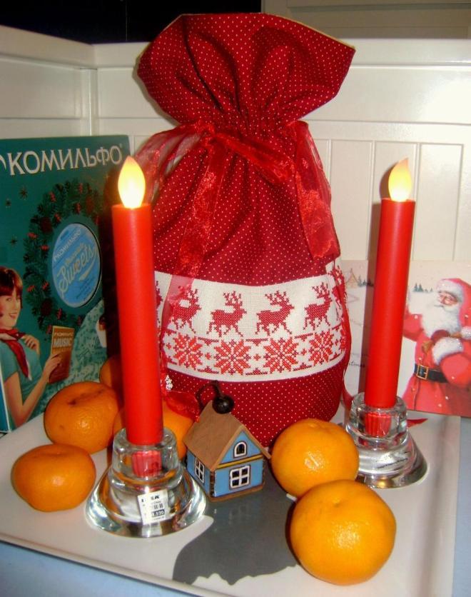 Автор: ОляЧе, Фотозал: Мое хобби, Подарок для Колокольчика Рудольфа (васса) от Конфетки (меня) Мешочек для золотых орешков)))