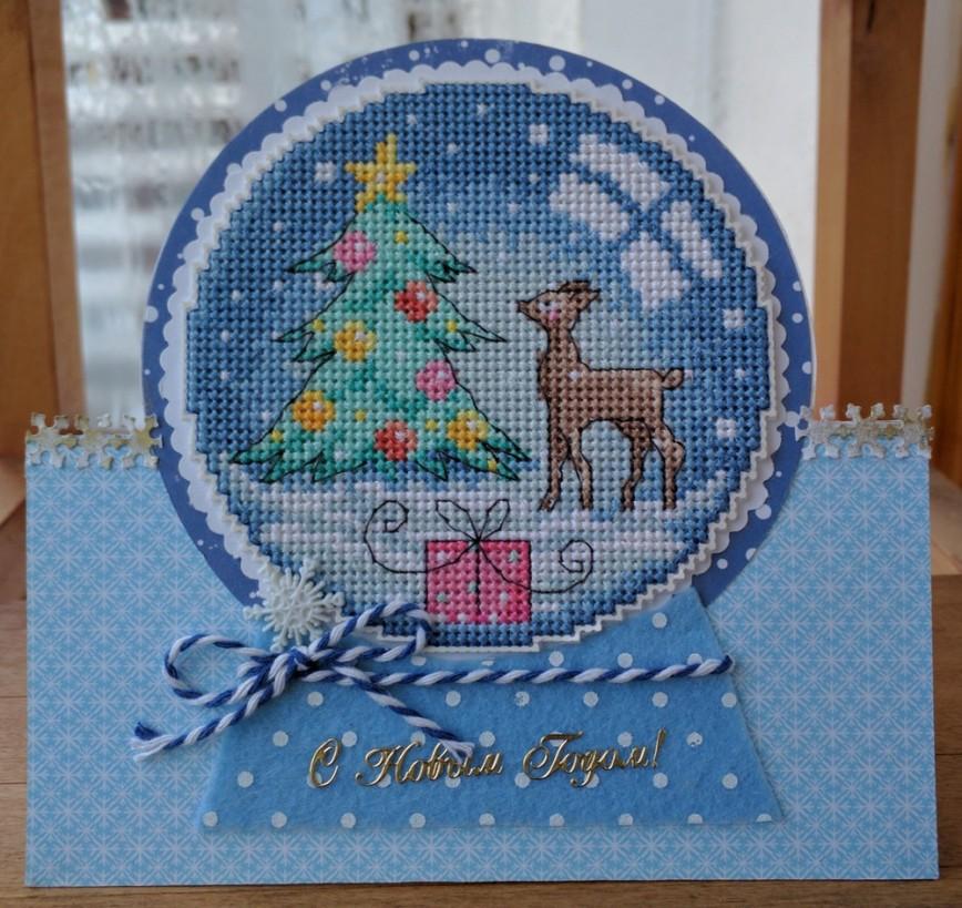 Дед мороз, вышитая открытка к новому году