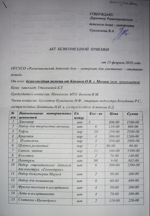 Акт на одежду,обувь,развивалки переданные в адрес Разночиновского дди