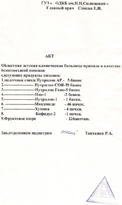 акт приема питания отделением отказников в феврале 2010 г.