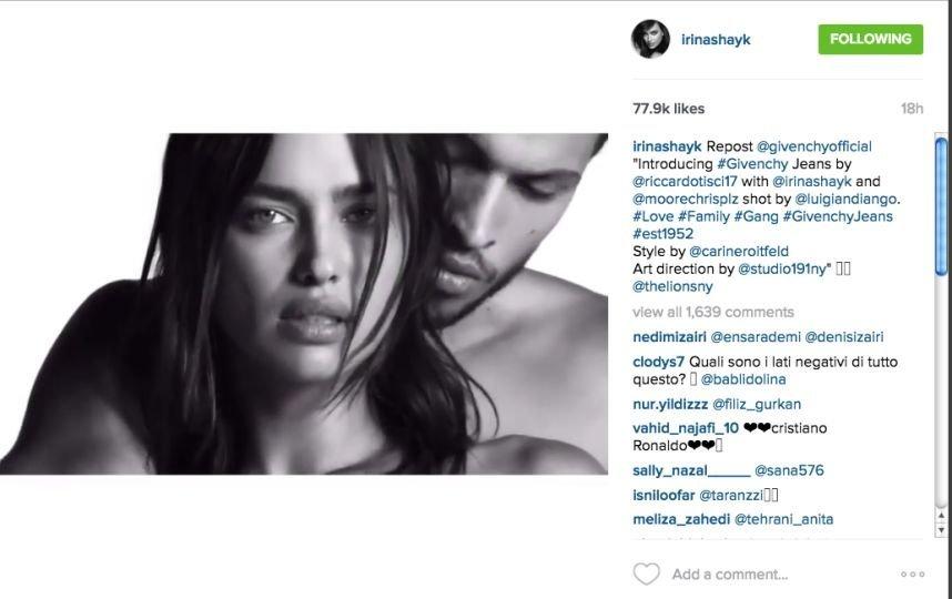 Ирина Шейк снялась обнаженной в новой рекламе Givenchy