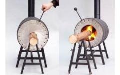 Необычная печь, которая топится цельным куском бревна
