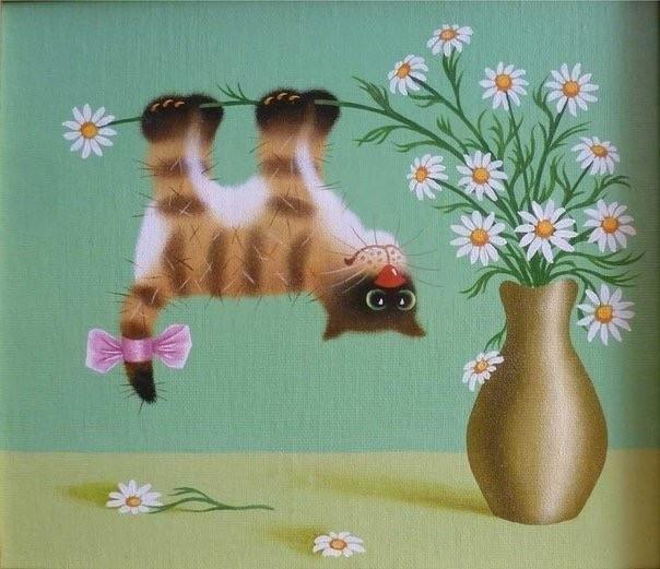 Картинки смешные кошки с днем рождения, добрым утром маме
