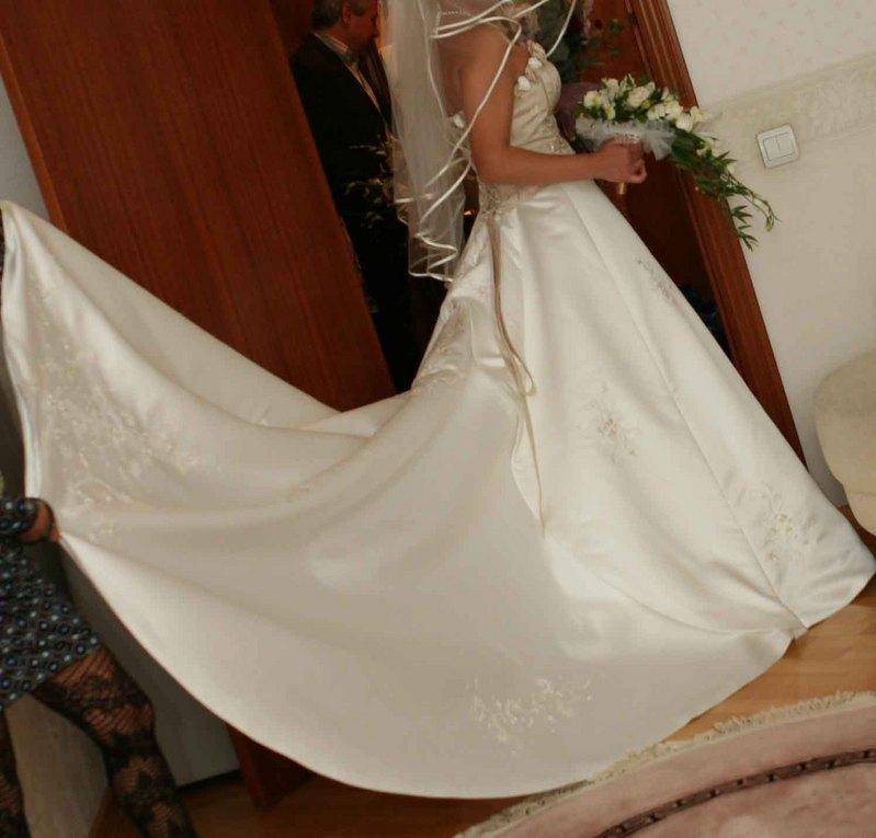 Как пристегнуть шлейф на платье