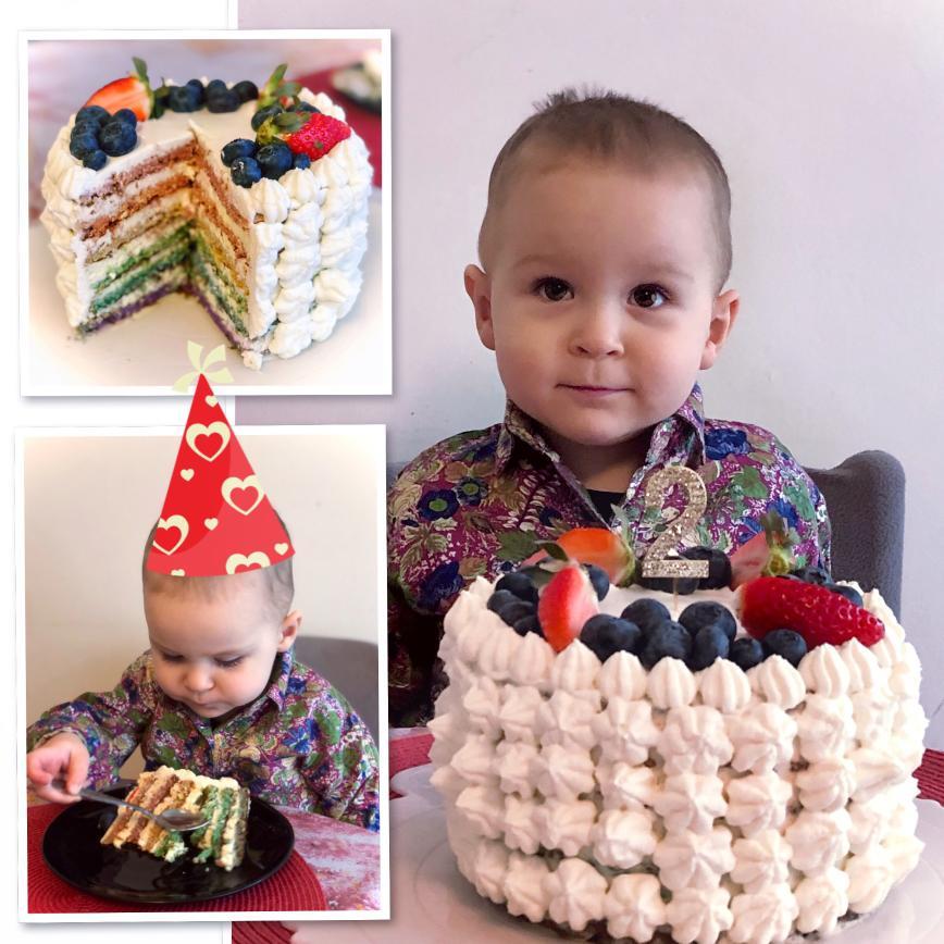 Автор: Дымкa 25236, Фотозал: Наши Дети, Когда Максу исполнилось 2, я сама испекла ему морковный торт-радугу, без сахара