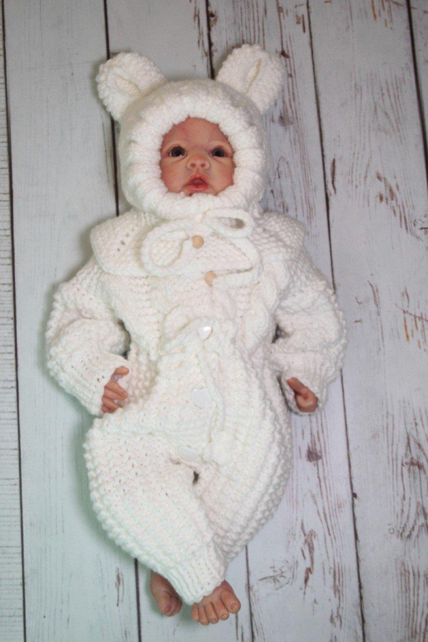 Автор: krestimbaby, Фотозал: Мое хобби, Вязаный набор из 2 предметов: комбинезон,шапочка(0-6 месяцев),размер 56-62