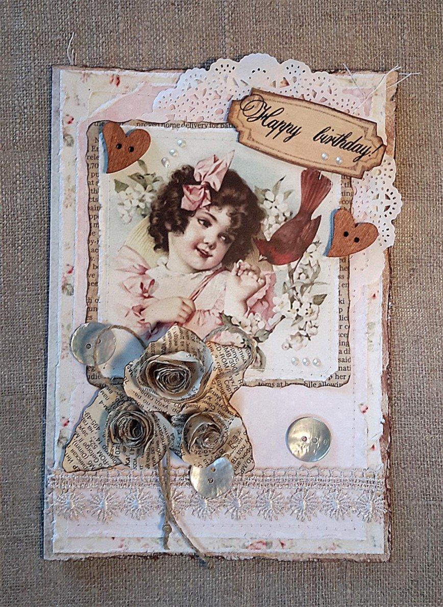"""Автор: pani_helenka, Фотозал: Мое хобби, Винтажная открытка ручной работы """"С днем рожденья!"""". Милая и нежная открытка с винтажной картинкой и розами из газеты, чтобы выразить свою любовь, не прибегая к сложным речевым оборотам). Такое поздравление не оставит равнодушным того, для кого предназначено.<br /> Дизайн дополнен пуговицами из натуральных материалов - бамбука и перламутра. Прилагается коробочка с прозрачным окном, также полностью ручной работы, которая предохраняет открытку от деформации. Цена открытки 1000 руб. В Москве самовывоз. Могу выслать по почте по стране и миру."""