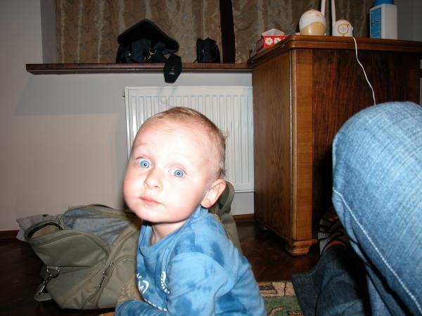 Мама, посмотри в мои честные глаза! Разве такой милый ребёнок мог всё выволочь из сумки и растащить по всей комнате?! Эх! Мог!:-)  август 2005
