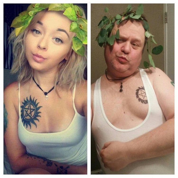 Отец спародировал сексуальные селфи своей дочери