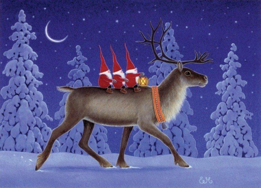 Открытка с новым годом с оленями, день рождения картона