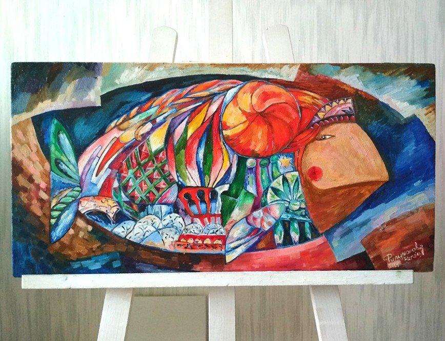 """Автор: artistnat, Фотозал: Мое хобби, Новая авторская рыба с сюжетом, для которой послужила картина Аристарха Лентулова """"Василий Блаженный"""". Холст, масло 60х30см."""
