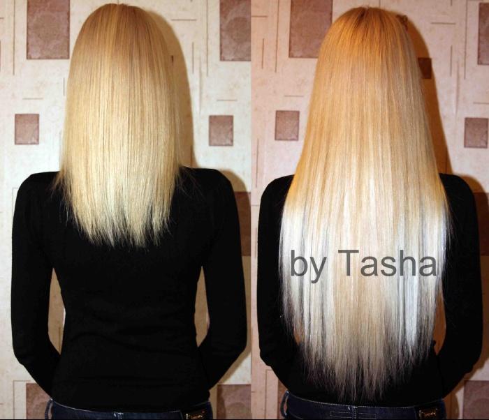 Фото наращивание волос 50 см