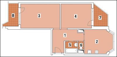 Перепланировка п 44 т. объединение лоджии и комнаты в двушке.
